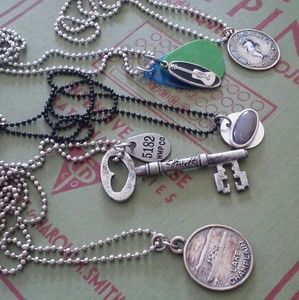 5 vintage sterling silver charm chain necklaces